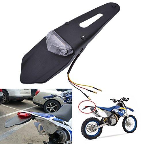 TUINCYN Moto LED Fanale posteriore Luce freno Parafango posteriore con staffa Moto fuoristrada nero Luce targa Luce di arresto con obiettivo bianco (confezione da 1)