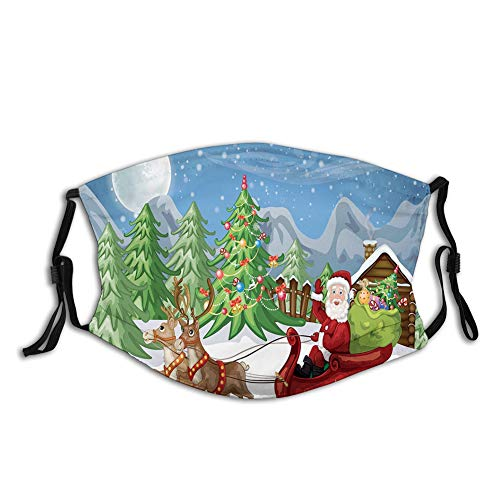 Comfortable Activated carbon mask Country Landscape at Night with Trees Santa Claus Snowdrift Printed Facial decorations for adult