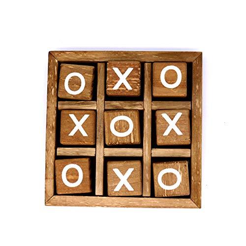 YUY Kinderpuzzle Spielzeug Holz Xo Brettspiel Tic Tac Toe Reisespiel Familien Herausfordern Gehirnspiele Mit Klassischem Gästezimmer Dekor, Freudiges Lernspielzeug Für Kinder
