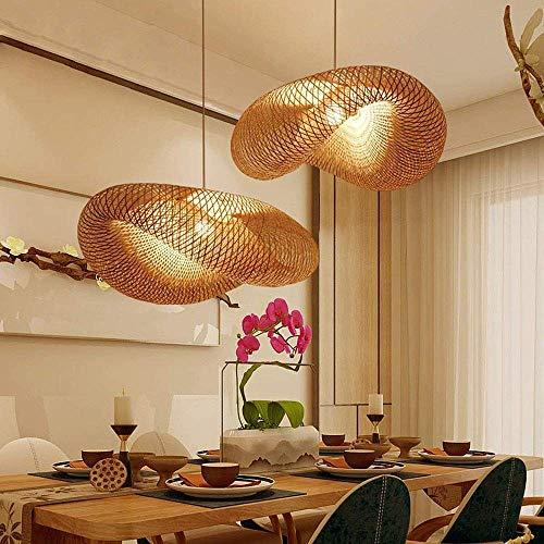 WangWDN Mimbre Rattan Cortinas de la lámpara de la Armadura de luz Colgante, lámpara del Techo de Té Comedor lámpara de bambú café de la Barra del Club,60CM