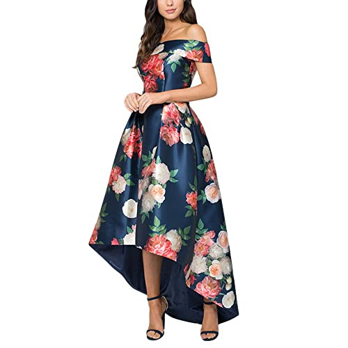 117853ccb738 Jessica CC Women's Bodice High Low Evening Party Gown Off Shoulder Floral  Maxi Long Dress S-L