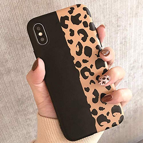 Topwin Leopard iPhone Xs Max (6.5'') Case, Soft Flexible TPU Classic Luxury Fashion Leopard Print Chic Cheetah Ultra Slim Lightweihgt Rubber Floral Case for Apple iPhone Xs Max 6.5'' (Black)