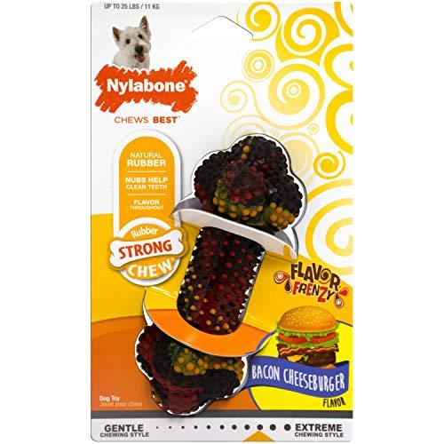 Interpet NRD001PEU Nylabone Kauspielzeug für starke Kauer, Knochen - Bacon-Cheeseburger-Geschmack, S