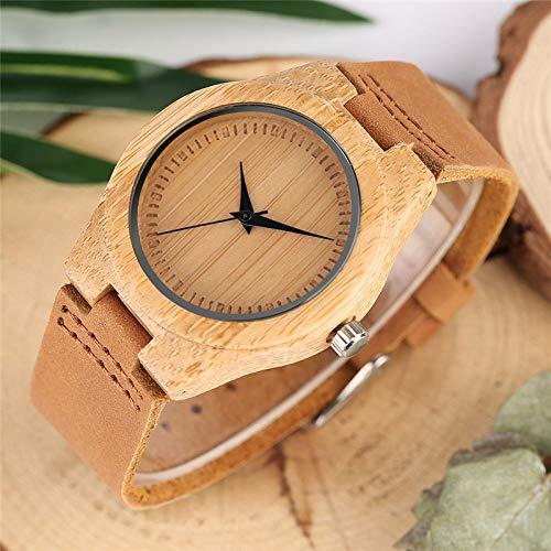 IOMLOP Reloj de Madera, Reloj de Madera de bambú Minimalista Superior, Reloj de Moda para Mujer, Reloj de Hora, Cuero Suave, sin Palabras, Esfera Redonda, Relojes de Pulsera de Cuarzo