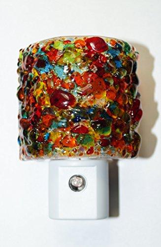 Handmade lifetime LED fused glass nightlight in primary fun mix