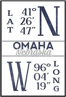 Omaha, Nebraska - Latitude and Longitude (Blue) (24x36 Framed Gallery Wrapped Stretched Canvas)