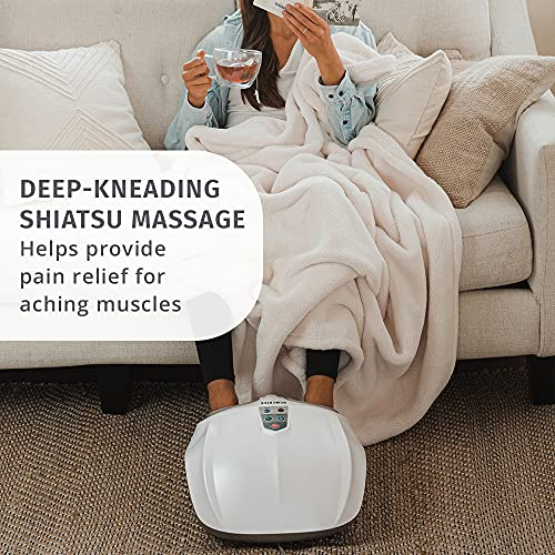 Shiatsu Air 2.0 Foot Massager with Soothing Heat and Rhythmic Air Compression, 3 Customized Controls and Intensities, Washable Liner, At-Home Kneading Massage Relaxes Feet, 3 Speed Options, HoMedics