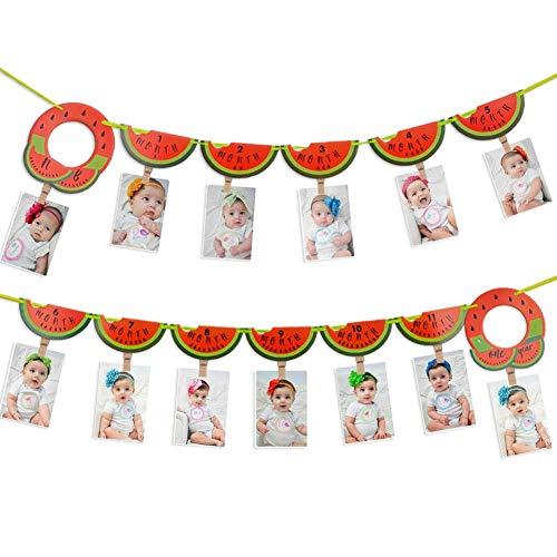 foci cozi Wassermelone 1-12 Monat Fotobanner 1-Geburtstag Dekoration Baby Girl Monat Meilenstein Foto Prop Garland One In a Melon Fruit Party Supplies Decor