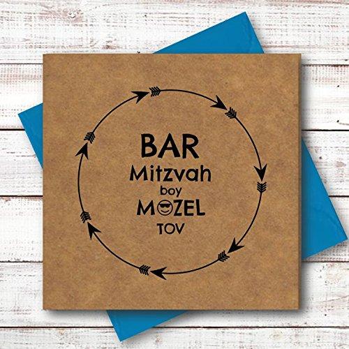 Tarjetero MITZVAH en KRAFT. Tarjeta de felicitación cuadrada de 150 mm de lujo 100% reciclada con sobre de neón brillante