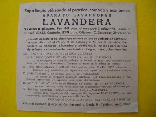 Folleto Publicidad - Advertising Poster: APARATO LAVARROPAS LAVANDERA