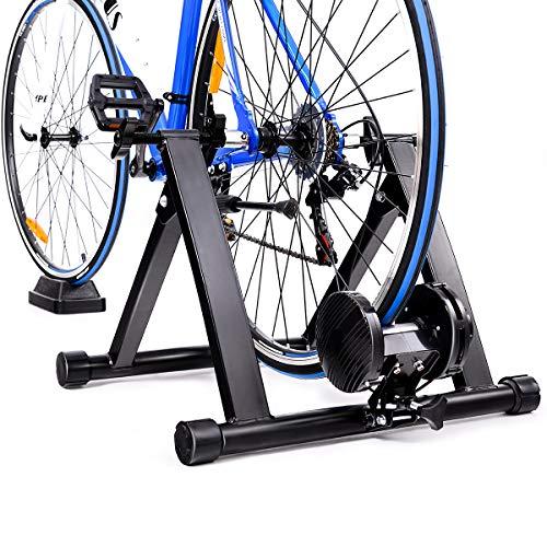 Goplus Rullo Trainer Allenamento Bici Pieghevole Supporto in Acciaio per Bicicletta per Allenamento a Casa con Linea di Regolazione