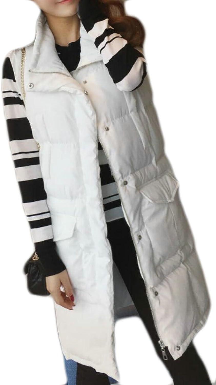 GAGA Women Padded Stand Collar Long Down Vest Sleeveless Jackets