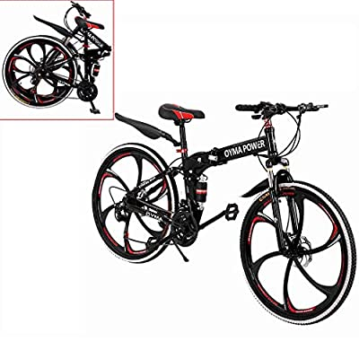 US Fast Shipment Mountain Bike 26 Inch, Outroad Mountain Bike,6 Spoke 21 Speed Folding Bike Double Disc Brake Suspension Fork Rear Suspension Anti-Slip Bicycles (Red)