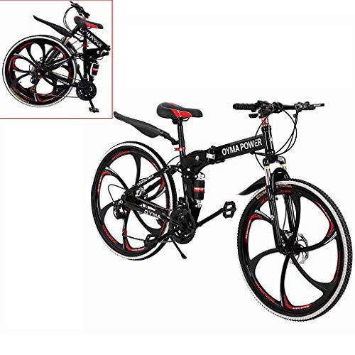 US Fast Shipment Mountain Bike 26 Inch, Outroad Mountain Bike,6 Spoke 21 Speed Folding Bike Double Disc Brake Suspension Fork Rear Suspension Anti-Slip Bicycles (Red)