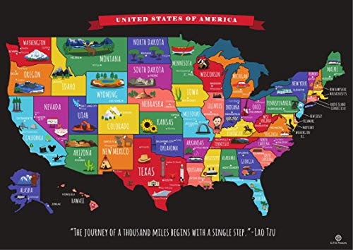 Scratch Off Map of The United States Travel Map - Scratch Off USA Map by JTSC Products - Gifts for...