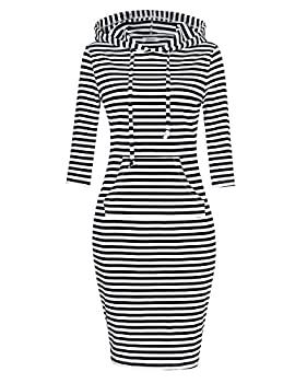 MISSKY Women s 3/4 Long Sleeve Pullover Stripe Keen Length Slim Hoodie Dress with Kangaroo Pocket for Sport Causal for Spring Summer Autumn Black-white X-Large