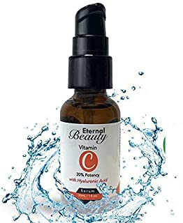 Light Therapy Serum By Eternal Beauty - 20% Vitamin C and Hyaluronic Acid, Anti Aging Benefits and Deep Hydration, Great for Acne and Acne Scars, Skin Brightening and Dark Spots