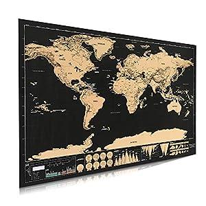 Póster de mapa del mundo para rascar, mapa internacional para decoración de pared, para el hogar, con detalles del mundo como capitales, estados, ciudades, 42 x 30 cm