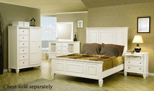 Coaster Home Furnishings 4pc King Size Bedroom Set Cape Cod Style in White Finish