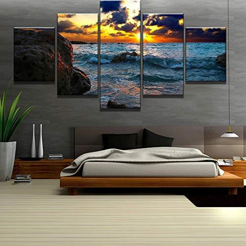JRLDMD Mar Sunset Wall Art Prints Paisaje Lienzo Posters Decoración Moderna para el hogar Cuadros modulares Decoración de la Sala de Estar 30x40cmx2 30X60cmx2 30x80cmx1 Sin Marco