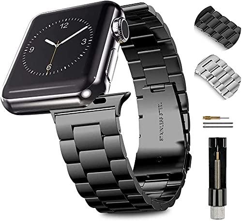 Correa de repuesto para reloj de pulsera, compatible con Apple Watch Series 6, 5, 4, 3, 2, 1, SE, 42, 44 mm, correa de repuesto de acero inoxidable compatible con iWatch Series todos los modelos