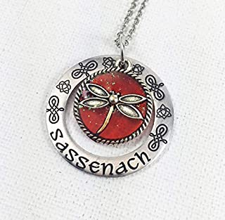 Sassenach Dragonfly in Amber Engraved Silver Aluminum Necklace