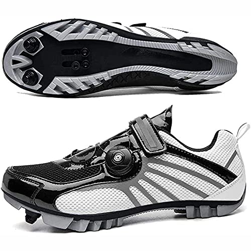 HYQW MTB SPD Ciclismo Zapatos para Hombres Mujeres Ideal para Bicicletas De Montaña XC Ciclocross Bikes Incluidos Triatlón De Carretera En Bicicleta Ciclismo O Interior VIIPOO,Gray-36EU