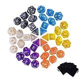 QH-shop Poliédrico Dados 42 Piezas Dados de Juego de Solo Color para RPG Dungeons y Dragons Pathfinder con 6 Bolsas Negras