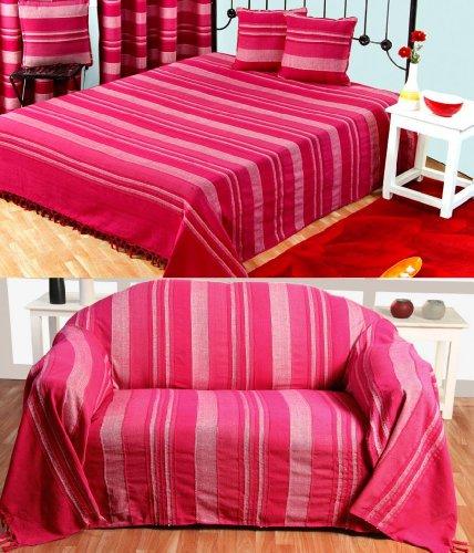 Homescapes extra große Tagesdecke Morocco, pink, Sofa-Überwurf aus 100{42b25fa14226a1d08c7121e5541154edfb01d34f714b2347811c8ca28e793f43} Baumwolle, weiche Wohndecke 255 x 360 cm, pink gestreift, mit Fransen