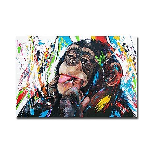 N/ A Graffiti niedlichen Affen rahmenlose Leinwand Malerei bunt Bedruckte Poster und drucken Wandbilder von Wohnzimmer Wohnkultur M1 40x60cm No Frame
