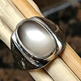 Natural Shimmering True Moonstone, Grey Orthoclase Moonstone 925 Sterling Silver Unisex Ring 7