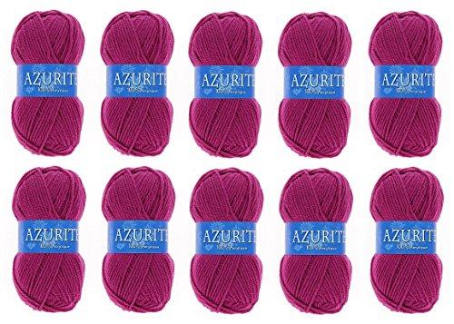 les colis noirs lcn Lot 10 Pelotes de Laine Azurite 100% Acrylique Tricot Crochet Tricoter - Framboise - 0283