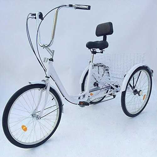 HaroldDol – Triciclo para adultos, 24 pulgadas, 3 ruedas, 6 marchas, aluminio, Tricycle Cruiser, bicicleta de carga, bicicleta para personas mayores, color blanco con cesta