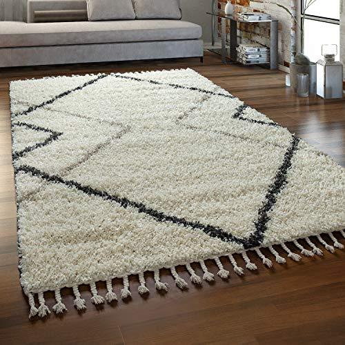 Paco Home Tapis Beige Poils Longs Salon Design Losanges Aspect Scandinave Doux À Franges, Dimension:160x220 cm