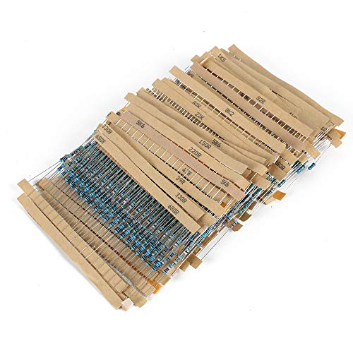 INNKER 1280 Pieces Resistor Kit Metal Film Resistors Assortment 64 Values 1% Assorted Resistors 1 Ohm-10M Ohm 1/4W with Storage Box for Electronic Experiment DIY Projects