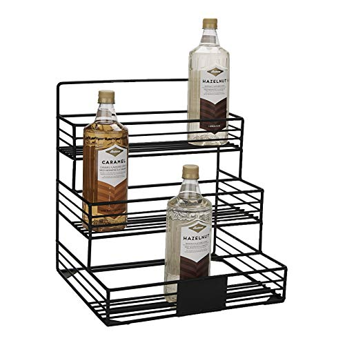 Mind Reader Iron, Wire Compartment Organizer, Storage for Syrup, Wine, Dressing, Black-12 Capacity, One Size, 12 Bottle Holder