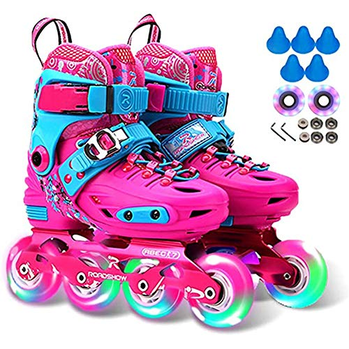 For Sale! BHHT Children's Inline Skates Roller Blades Adjustable Shoe Size with Flashing Light Up Wh...