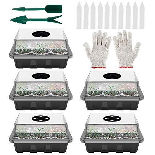 harupink Zimmergewächshaus Anzuchtkasten,Mini Gewächshaus,Anzuchtset mit Deckel und Belüftung,12 Löchern Keimschalen Pflanzschalen für Sämling Pflanze Aufzucht (5Stücke, Schwarz)