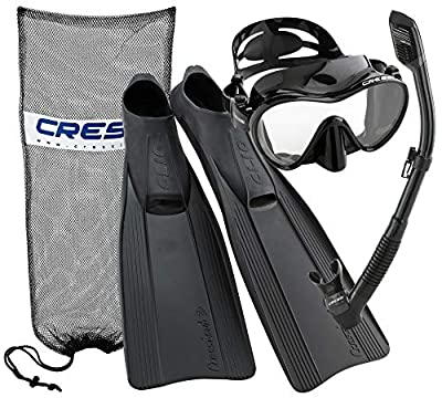 Cressi Clio Full Foot Fin Frameless Mask Dry Snorkel Set with Snorkeling Carry Bag