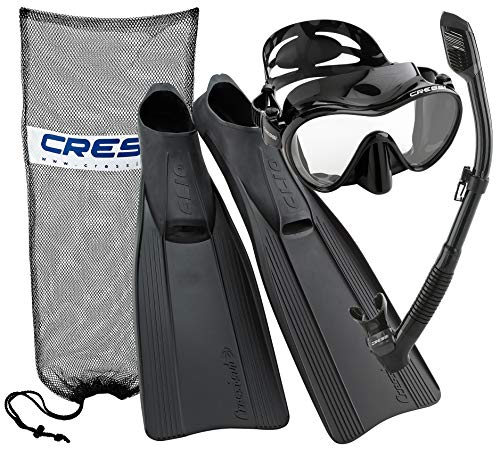 Cressi Clio Full Foot Fin Frameless Mask Dry Snorkel Set with Carry Bag, Black, Size 4/5-Size 37/38