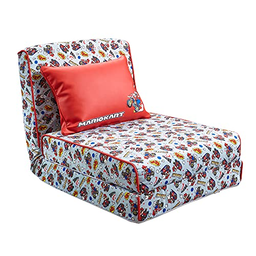 X Rocker Official Mario Kart Crash Pad JR Floor Gaming Chair, Fold Out Chair Bed for Kids, Click-Clack Recliner Futon Sofa Folding Mattress