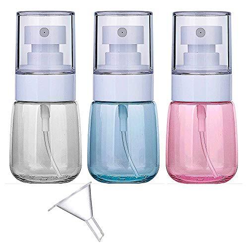 FLZONE Bote Spray,3* 30ml Botella de Aerosol Vacío Plástico con Mini Embudo Transparentes Contenedor de Pulverizador para Viajes,Viajes de Negocios