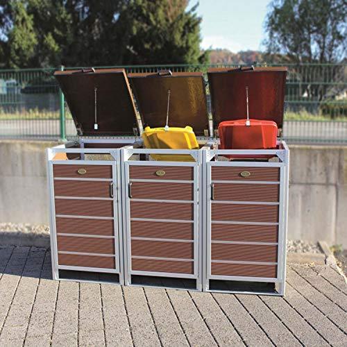 Prewood WPC Mülltonnenbox, Mülltonnenverkleidung für 3x 120l Mülltonne braun // 70x204x113 cm (LxBxH) // Gerätebox, Gartenbox & Mülltonneneinhausung - 4
