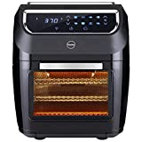 iCucina Air Fryer  10 Qt Actual Capacity 1700W Power Frier  Non-Stick Basket Cooker With Additional Accessories Oil Free 360 Rotating Mesh Basket Chicken Rotisserie Drip Tray For Easy Clean and Dehydrator Oven, 6-in-1 Countertop Oven, Digital LED Display, 9 Accessories Mini Oven