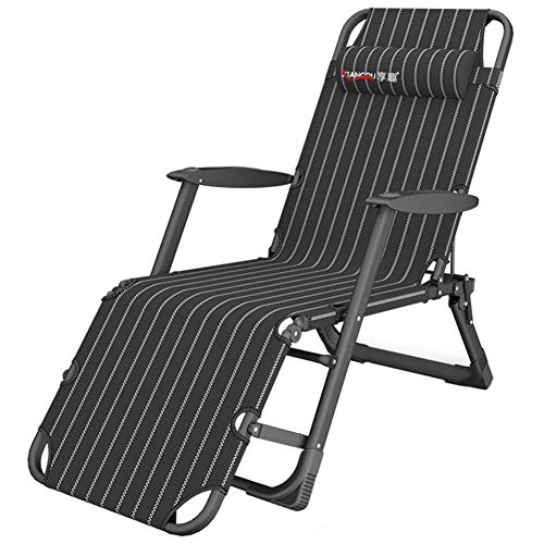 L.HPT Garden Sun Lounger Recliner Chair - Foldable Sun Bed with Can lie Flat Backrest, Supports 200 kg (Black) (Color : Without Cushion)