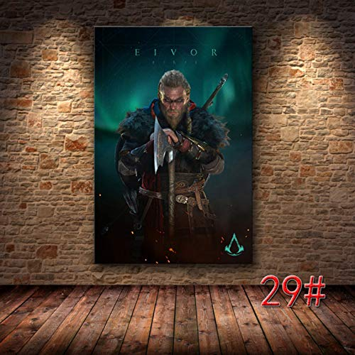 PHhomedecor Sin Marco Cuadros 50X70Cm - Juego Póster Pintura Decorativa Assassin'S Creed Valhalla HD Lienzo Lienzo Arte Cartel Pared Arte Lienzo,Wkh-211