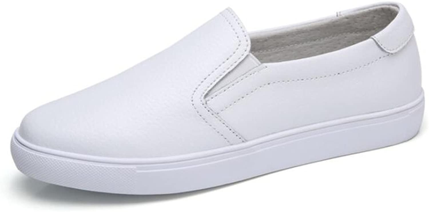 Women's shoes Leather Spring Summer Flat Heel Peas shoes Slip-ONS & Loafers Office & Career Dress White, Black