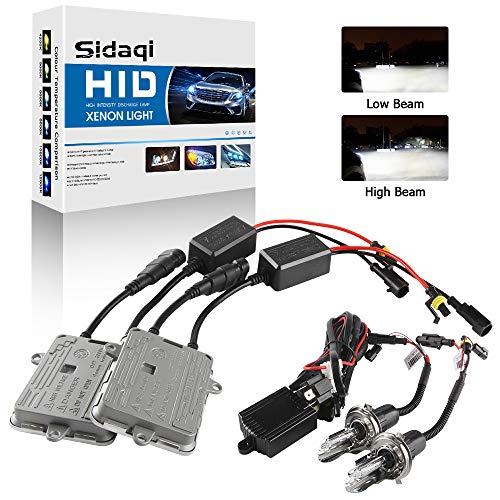 Sidaqi Kit di conversione faro allo xeno H4 6000K Due reattori HID ultrasottili da 55W per auto fari abbaglianti/anabbaglianti