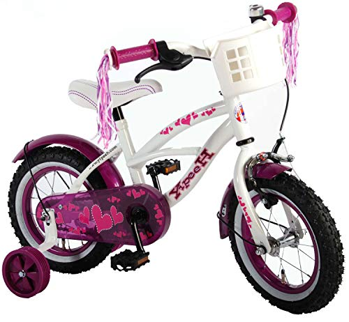 Heart Cruiser Kinderfahrrad Mädchenfahrrad 12 Zoll mit Rücktrittbremse Korb Stützrädern vormontiert