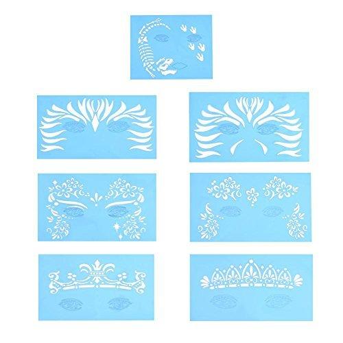 Delaman Gesichts Lack Stencil Wiederverwendbare Tätowierung Malerei Template Körper Kunst Blumen Gesichts Make-up Design Tools 7style / Set (Muster : #2)